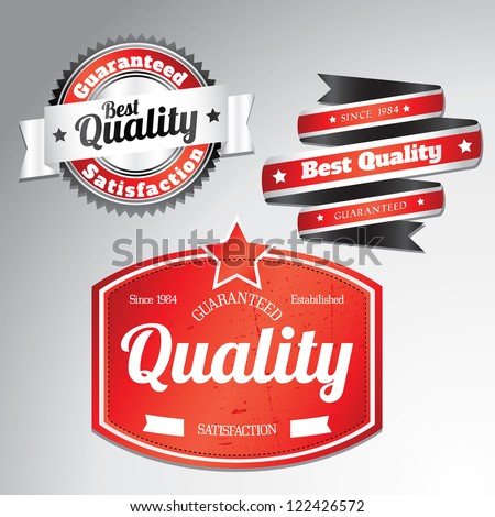 premium quality labels with removable grunge effect - stock vector