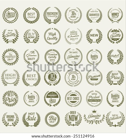 Premium quality laurel wreath collection - stock vector
