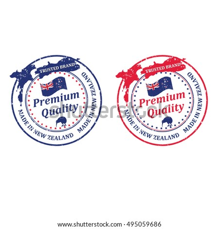 Premium quality, made in New Zealand, Trusted Brand- grunge printable stamp / sticker / badge