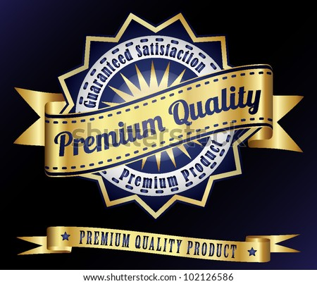 premium quality product vintage golden stamp label - stock vector