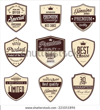 Premium quality retro vintage badges - stock vector