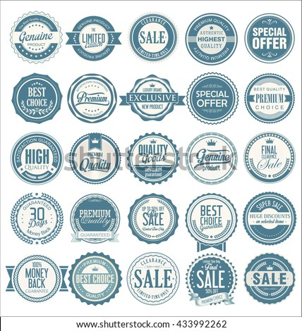 Premium quality retro vintage labels collection - stock vector