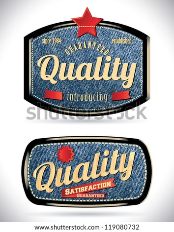 premium quality retro vintage labels with blue jeans background - stock vector