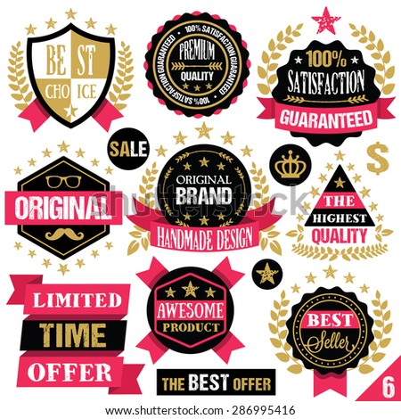 Premium quality stickers, badges, labels and ribbons. Vector illustration. Isolated on white background. Set 6 - stock vector