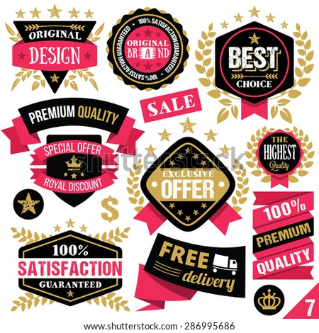 Premium quality stickers, badges, labels and ribbons. Vector illustration. Isolated on white background. Set 7 - stock vector