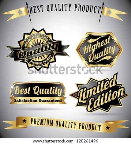 premium quality vintage labels with ribbons in blue red color - stock vector