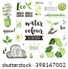 Premium quality watercolor icons set of environmental problem, green energy saving. Hand drawn realistic vector decoration with text lettering. Flat lay watercolor objects isolated on white background - stock photo