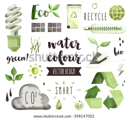 Premium quality watercolor icons set of environmental problem, green energy saving. Hand drawn realistic vector decoration with text lettering. Flat lay watercolor objects isolated on white background - stock vector