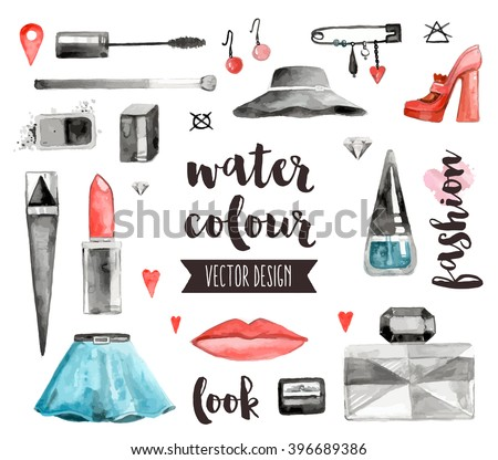Premium quality watercolor icons set of makeup products, female beauty accessories. Hand drawn realistic vector decoration with text lettering. Flat lay watercolor objects isolated on white background - stock vector