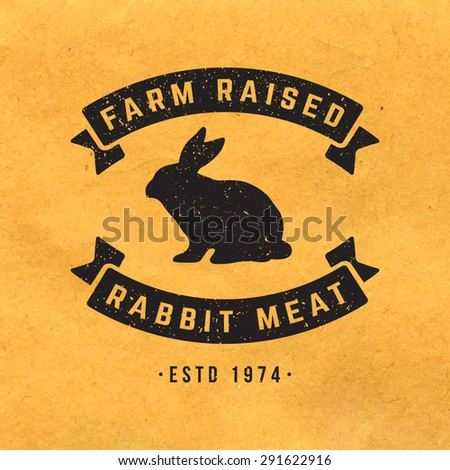 premium rabbit meat label with grunge texture on old paper background - stock vector
