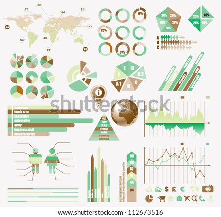 Premium Retro infographics eco  collection: graphs, histograms, arrows, chart, 3D globe, icons and a lot of related design elements. - stock vector