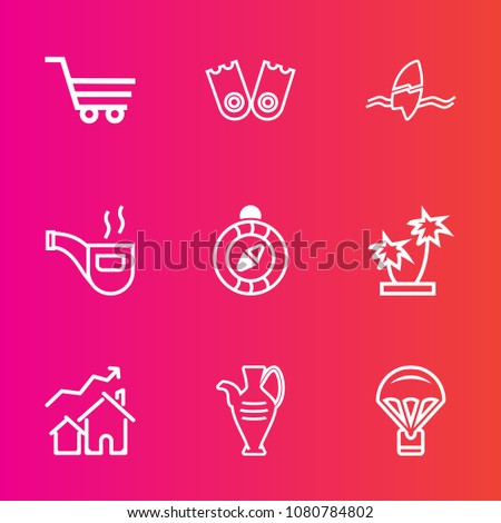 Premium Set With Outline Vector Icons Such As Vintage Compass Store Property