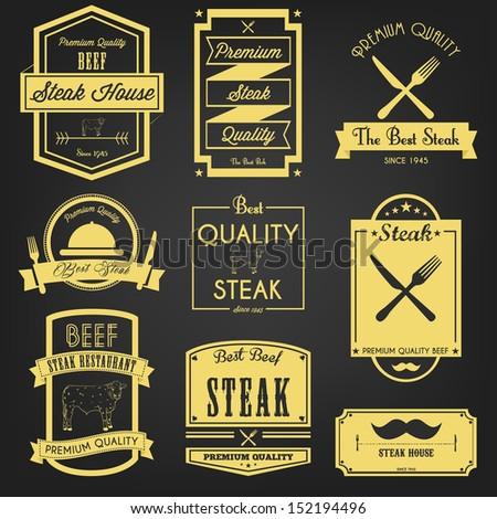 Premium Steak Vintage Label - stock vector