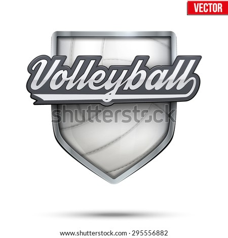 Premium  symbol of Volleyball label. Symbol of sport or club. Vector Illustration isolated on white background. - stock vector
