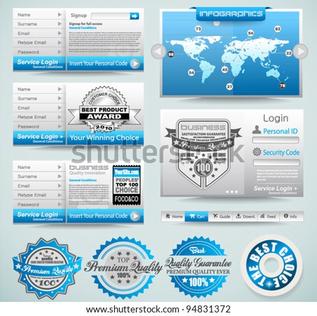 Premium templates and Web stuff  master collection: graphs, histograms, arrows, chart, infographics, icons and a lot of related design elements. - stock vector