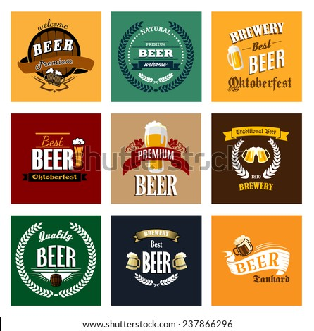 Premium, traditional, quality, best, natural beer and brewery banners and emblems in retro style with wooden kegs, big mugs, laurel wreaths and barley on vintage colors background - stock vector