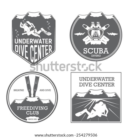 premium vector label for scuba diving center and freediving swimming - stock vector