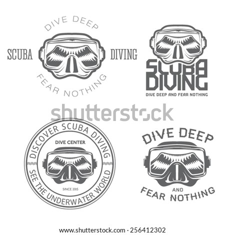 premium vector label mask for scuba diving and freediving swimming - stock vector