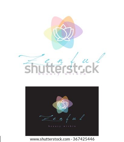 PREMIUM VECTOR LOGO DESIGN OF A LOTUS FLOWER INTO A COLORFUL ABSTRACT SHAPE , IDEAL FOR ANY SPA , BEAUTY, ALTERNATIVE MEDICINE AND HEALING , MEDITATION AND ANY RELATED PROFESSION OR COMPANY  - stock vector