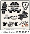 premium vintage vector surf and surfer retro label elements.longboard vector elements - stock vector