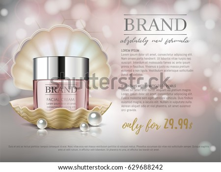 Premium VIP cosmetic ads, hydrating luxury facial cream for sale. Elegant soft pink color cream mask bottle in shell isolated on glitter sparkles with pearls, gloss effect. 3D realistic vector