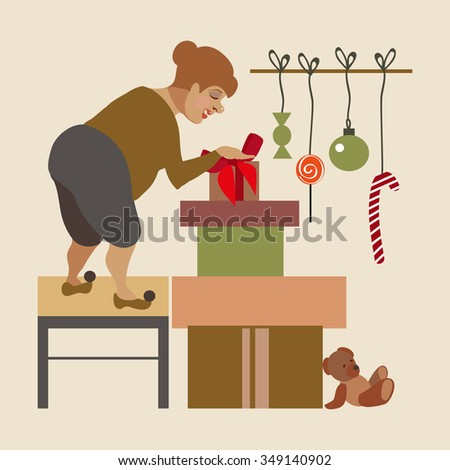 Preparing presents for the New Year. Decorate the house - stock vector
