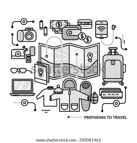 Preparing to travel. Necessary items for the journey. What to pack.  Thin, lines, outline icons for web design, analytics, graphic design and in flat design - stock vector