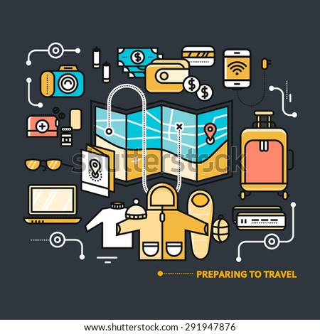 Preparing to travel. Necessary items for the journey. What to pack.  Thin, lines, outline icons for web design, analytics, graphic design and in flat design on black color background - stock vector