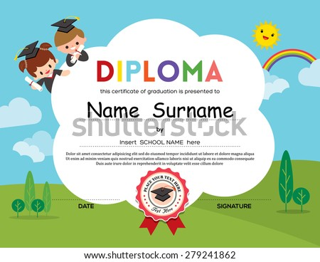 Preschool Elementary school Kids Diploma certificate background design template - stock vector