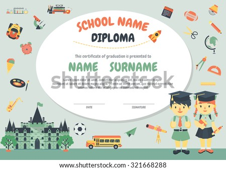 preschool elementary school kids diploma certificate stock vector  preschool elementary school kids diploma certificate background design template