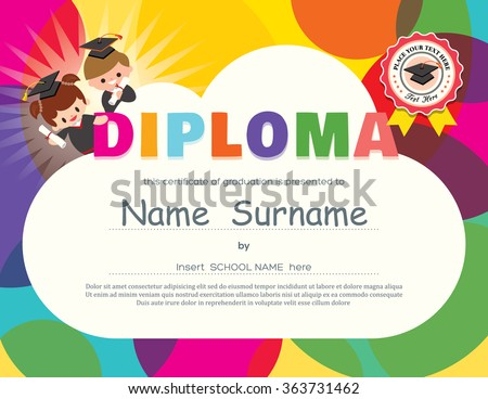 Preschool graduation stock images royalty free images vectors preschool elementary school kids diploma certificate background design template yadclub Image collections