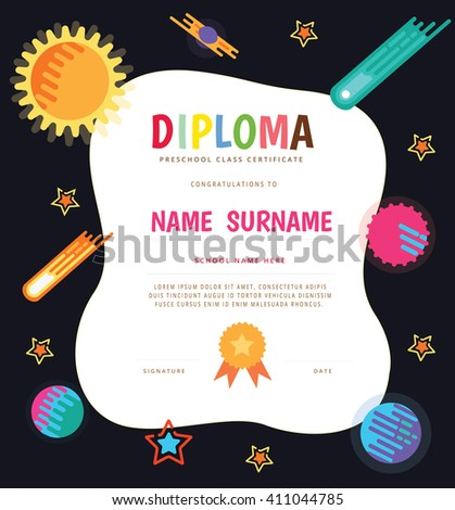 Preschool Elementary School Kids Diploma Certificate The Stock ...