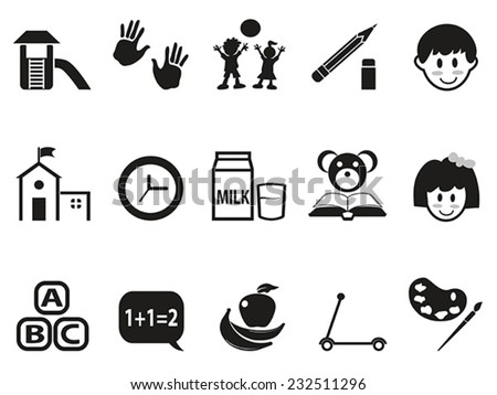 preschool icons set - stock vector