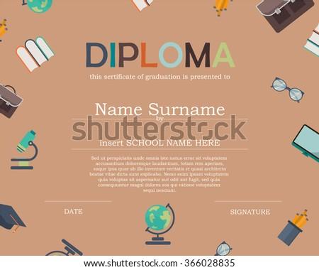 Preschool Kids Diploma Certificate Background Design TemplateKids Education TemplateKnowledge