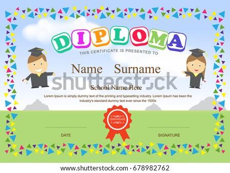 Preschool elementary school kids diploma certificate stock vector preschool kids diploma certificate design template background yadclub Choice Image