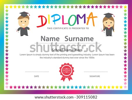 Kids diploma preschool certificate elementary school stock vector preschool kids elementary school diploma certificate design background template yadclub Image collections