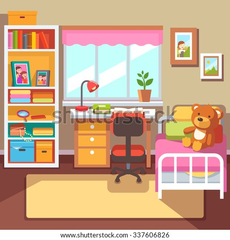 Kids bedroom stock vectors vector clip art shutterstock for Room design vector