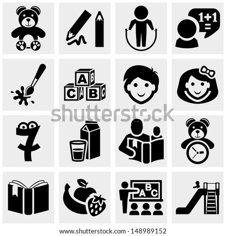 Preschool vector icons set on gray.  - stock vector