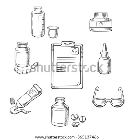 Prescription and medical sketch icons with clipboard, drugs and pills, ointment, dosage, liquid medication, dropper and glasses - stock vector