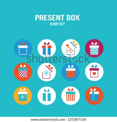 Present box icon set. Gift for Christmas, Birthday, St Valentine's Day, Wedding and other Holiday celebration. Vector illustration - stock vector