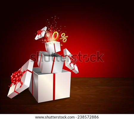 Present box inside present box on wooden table. Open gift with fireworks from confetti. Border design. Background for promotions and offers. Zero percent. Festive action. - stock vector