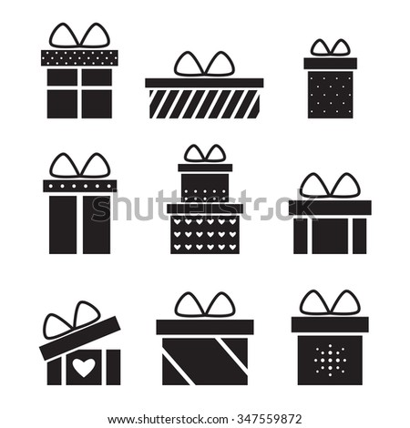 Present box isolated black silhouette icons on white background. Christmas present. Birthday present. Holiday present. Present icon. Present gift. Presents collection. Flat style vector illustration.  - stock vector