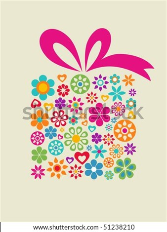Present box with floral pattern - stock vector