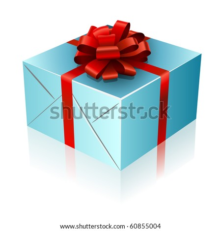Present box with red ribbon and bow. - stock vector