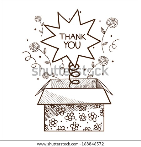 Present box with thank you sign. Sketch vector illustration - stock vector