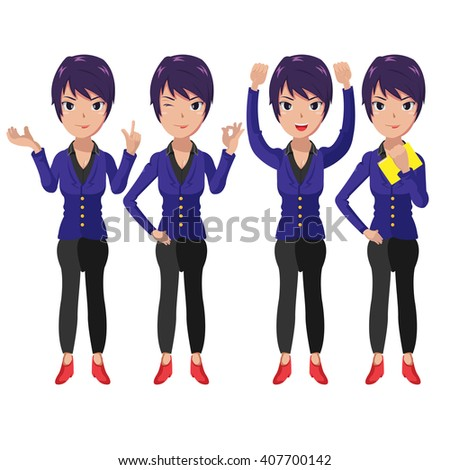 Present Characters Cartoon Woman Worker Vector