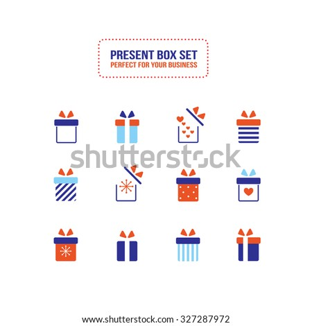 Present gift box icon set Christmas New Year Holiday concept Flat design - stock vector