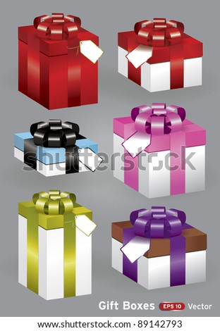 Present gift boxes various sized vector set with labels - stock vector