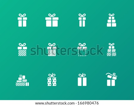 Present icons on green background. Vector illustration. - stock vector