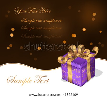 Present with gold ribbon and bow - stock vector
